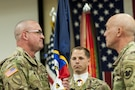 U.S. Army Reserve Command Sgt. Maj. Ted L. Copeland, left, accepts the colors from Lt. Gen. Charles D. Luckey, chief, Army Reserve and U.S. Army Reserve Command commanding general, during a change of responsibility ceremony at the U.S. Army Forces Command and U.S. Army Reserve Command headquarters, April 18, 2017, at Fort Bragg, NC. Copeland takes over the U.S. Army Reserve's top enlisted position after serving as the command sergeant major of the 79th Sustainment Support Command in Los Alamitos, Calif. (U.S. Army photo by Timothy L. Hale/Released)