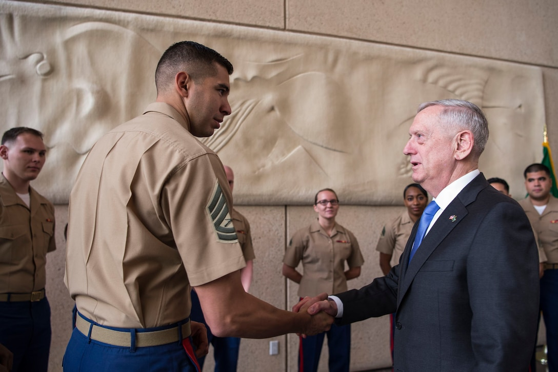 Defense Secretary Jim Mattis meets with Marines during his visit to Riyadh, Saudi Arabia, April 19, 2017. DoD photo by Air Force Tech. Sgt. Brigitte N. Brantley