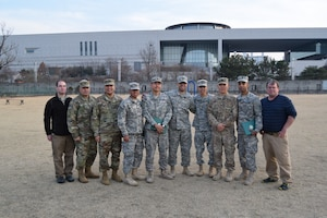 ERDC researchers pose for a group shot after the completion of Key Resolve 2017 with members of the 916th FEST-A, March 16, 2017. From left to right are Noah Garfinkle, CERL, Sgt. 1st Class Luis Rodriguez, Capt. John Lee Membrere-Mercado, 1st Lt. Mark Guirao, 1st Lt. Nuttapong Lea, 1st Lt. Kyle Ramirez, Maj. Aaron Takahashi, Capt. Seung Yoo, Capt. Jesse Jordan and Pat Guertin, CERL.