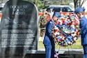Air Force Academy cadets Robert Breen and Gabriel Perez lay a wreath next to the Doolittle Tokyo Raiders memorial at the National Museum of the United States Air Force in Dayton, Ohio as part of a 75th anniversary ceremony, April 18, 2017. The memorial attended by Lt. Col. (Ret.) Richard E. Cole, the sole surviving member of the Doolittle Raiders, honored the 80 volunteers who flew 16 B-25 bombers to strike the Japanese mainland from the USS Hornet aircraft carrier, turning the tide of World War II. (U.S. Air Force photo/Wesley Farnsworth)