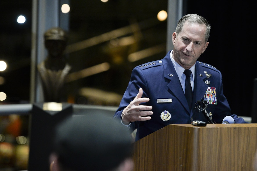 Chief of Staff of the Air Force, Gen. David L. Goldfein, responds to a media question during a press conference at the National Museum of the United States Air Force, April 18, 2017. The press conference was held prior to the start of the 75th Anniversary of the Doolittle Raid Memorial Ceremony also attended by the sole surviving Raider, Lt. Col. (Ret.) Richard E. Cole. (U.S. Air Force photo/Wesley Farnsworth)