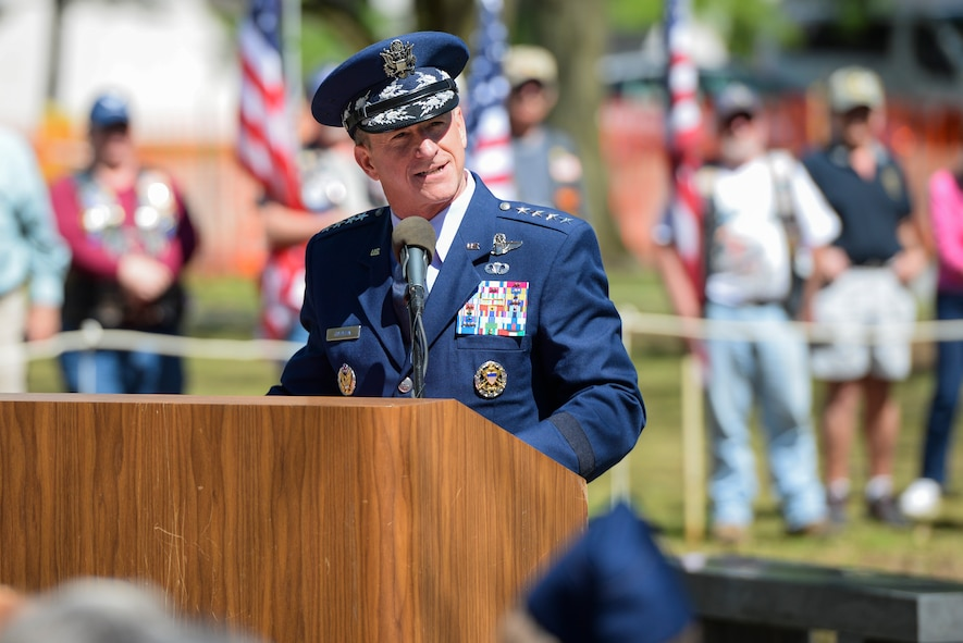 Chief of Staff of the Air Force, Gen. David L. Goldfein, delivers remarks at the 75th Anniversary Memorial Ceremony of the Doolittle Tokyo Raid, April 18, 2017 at the National Museum of the United States Air Force in Dayton, Ohio.  Attending the ceremony was Lt. Col. (Ret.) Richard E. Cole, the sole surviving member of the Doolittle Raiders, and Jeff Thatcher, the son of Doolittle Raider Staff Sgt. David Thatcher, who passed in June 2016. (U.S. Air Force Photo/ Wesley Farnsworth)