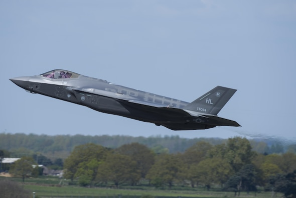 An F-35 Lightning II from the 34th Fighter Squadron at Hill Air Force Base, Utah, launches for a sortie at Royal Air Force Lakenheath, England, April 19, 2017. The fifth generation, multi-role fighter aircraft is deployed here to maximize training opportunities, affirm enduring commitments to NATO allies, and deter any actions that destabilize regional security. (U.S. Air Force photo/Senior Airman Malcolm Mayfield)