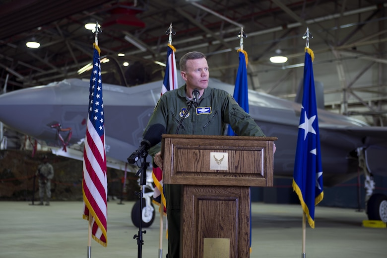 Gen. Tod Wolters, U.S. Air Forces in Europe and Air Forces Africa commander, speaks during a press conference at Royal Air Force Lakenheath, England, April 19, 2017. The press conference was held for the newly arrived F-35 Lightning II's on RAF Lakenheath. (U.S. Air Force photo/Senior Airman Malcolm Mayfield)