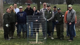 Members of the Ohio Department of Natural Resources with cooperation of the American Chestnut Foundation, and employees from U.S. Army Corps of Engineers Pittsburgh District partnered to plant more than 100 chestnut tree seedlings at Mosquito Creek Lake, March 31.