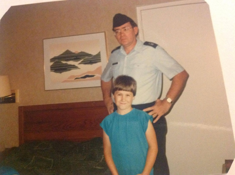 Shelby Hodges stands for a photo with his son, James, on his last day in uniform after 20 years of service, at McGuire Air Force Base, New Jersey, in 1986. April is designated the month of the Military Child to highlight the daily sacrifices they make while their loved ones are serving. (Courtesy photo)