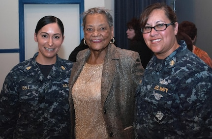 "DAHLGREN, Va. (April 4, 2017) - Navy Chief Petty Officers are pictured with retired Navy engineer Raye Montague after her keynote speech at a Women's History Month Observance held at Naval Support Activity South Potomac, comprising bases at Indian Head, Md., and Dahlgren. Montague was the first person to design a U.S. Navy ship - the USS Oliver Hazard Perry (FFG-7) - using a computer, revolutionizing naval ship design. The Navy's ""hidden figure"" spoke about her life and career experiences, sharing her words of wisdom to all gathered at the base theater to celebrate the observance."