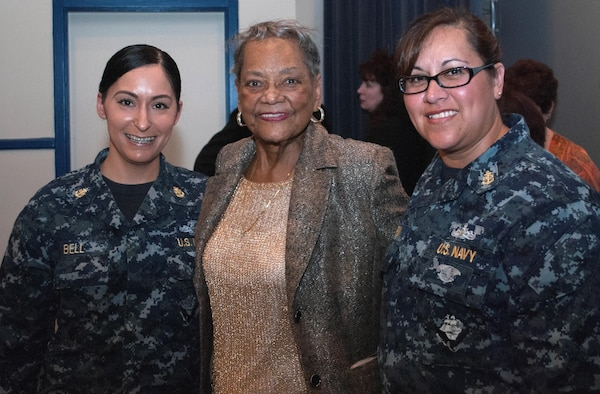 """DAHLGREN, Va. (April 4, 2017) - Navy Chief Petty Officers are pictured with retired Navy engineer Raye Montague after her keynote speech at a Women's History Month Observance held at Naval Support Activity South Potomac, comprising bases at Indian Head, Md., and Dahlgren. Montague was the first person to design a U.S. Navy ship - the USS Oliver Hazard Perry (FFG-7) - using a computer, revolutionizing naval ship design. The Navy's """"hidden figure"""" spoke about her life and career experiences, sharing her words of wisdom to all gathered at the base theater to celebrate the observance."""