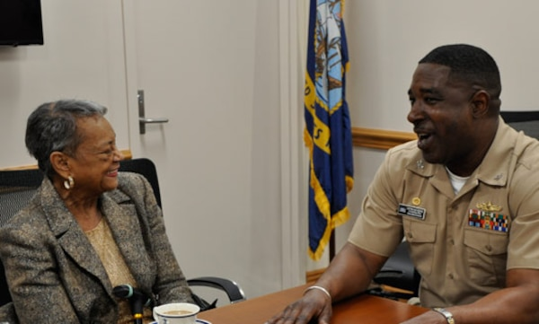 DAHLGREN, Va. (April 4, 2017) - The Navy's 'hidden figure' Raye Montague and Naval Surface Warfare Center Dahlgren Division (NSWCDD) Commanding Officer Capt. Godfrey 'Gus' Weekes meet at NSWCDD headquarters prior to Montague's keynote speech at a National Women's History Month Observance. Montague was the first person to design a U.S. Navy ship - the USS Oliver Hazard Perry (FFG-7) - using a computer, revolutionizing naval ship design.