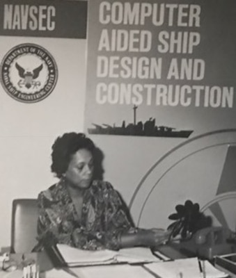 """Raye Montague - the Navy's 'hidden figure' - works at her Naval Ship Engineering Center office in this undated photograph. Montague was the keynote speaker at a National Women's History Month Observance held at Naval Support Facility Dahlgren in April 2017. I thought about all of things that happened to me in my career """" all the doors that I had opened and glass ceilings that I broke, she recounted at the observance. I didn™t realize that I was breaking glass ceilings back then. I was just doing what had to be done."""" Montague was the first person to design a U.S. Navy ship and served as the Program Manager of Ships (PMS-309) for the Naval Sea Systems Command Information Systems Improvement Program."""
