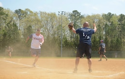 Retired U.S. Marine Corps Lance Cpl. Kyle Earl, Wounded Warrior Amputee Softball Team member, runs to home plate during the WWAST game against the Newport News police and fire departments in Newport News, Va., April 15, 2017. Each team member hopes to be an example to others of the sacrifices of military members. (U.S. Air Force photo/Airman 1st Class Kaylee Dubois)