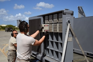 U.S. Air Force Staff Sgt. Raymundo Fernandez (right) and Tech. Sgt. Michael Quintanilla, both from the 144th Maintenance Squadron, California Air National Guard, pull fully loaded chaff boxes to install in the F-15C Eagle after the morning sortie during Sentry Aloha 17-03 April 1, 2017. Sentry Aloha is an Air Guard led exercise that provides a current, realistic, and integrated training environment to the U.S. Air Force and joint partners. (Air National Guard photo by Senior Master Sgt. Chris Drudge)