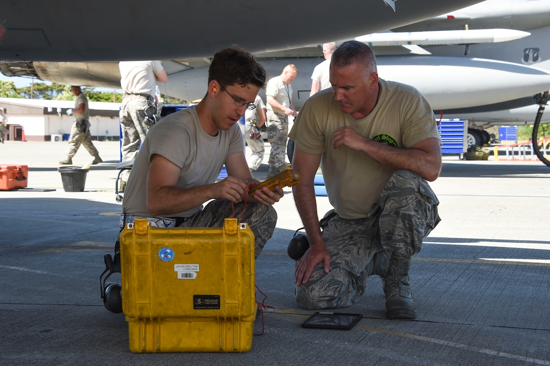 U.S Air Force Senior Airman Justin Rackerby (left) and Tech. Sgt. Jason Horn, both from the 144th Maintenance Squadron fuels section, prepare a voltmeter for troubleshooting an F-15C Eagle from the 144th Fighter Wing, California Air National Guard, after it returned from the morning mission during Sentry Aloha 17-03 April 1, 2017. Sentry Aloha is an Air Guard led exercise that provides a current, realistic, and integrated training environment to the U.S. Air Force and joint partners. (Air National Guard photo by Senior Master Sgt. Chris Drudge)