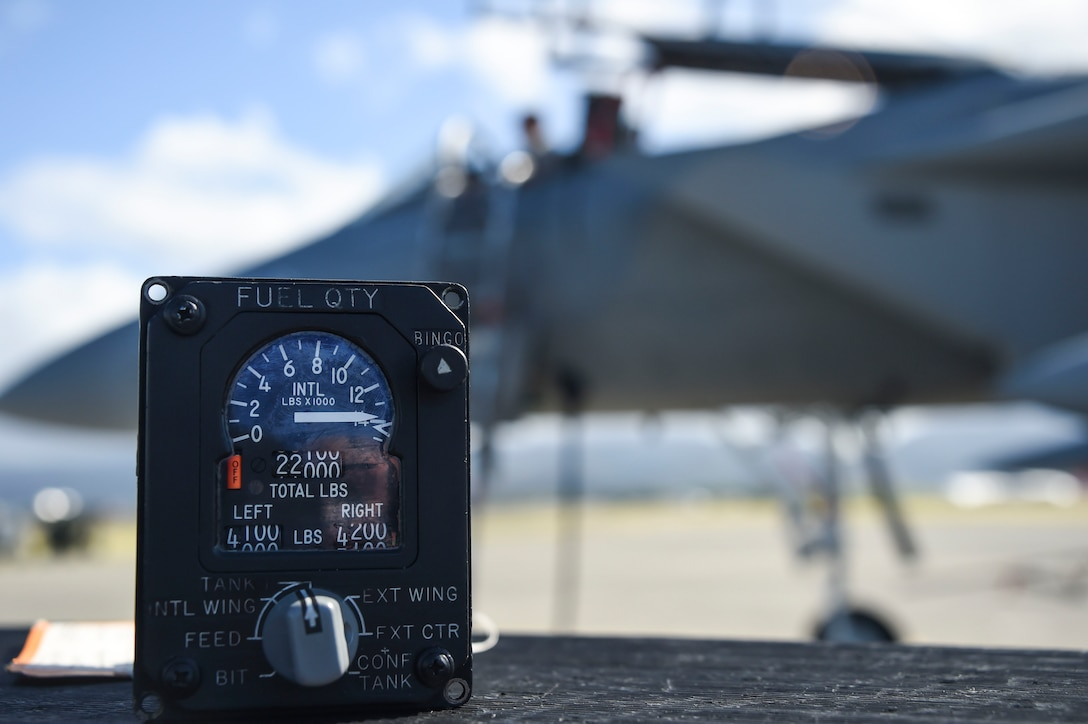 A faulty fuel quantity indicator removed from a 144th Fighter Wing F-15C Eagle awaits turn-in for repair by the 144th Aircraft Maintenance Squadron avionics section April 5, 2017 during the Sentry Aloha 17-03 exercise. Sentry Aloha is an Air Guard led exercise that provides a current, realistic, and integrated training environment to the U.S. Air Force and joint partners. (Air National Guard photo by Senior Master Sgt. Chris Drudge)