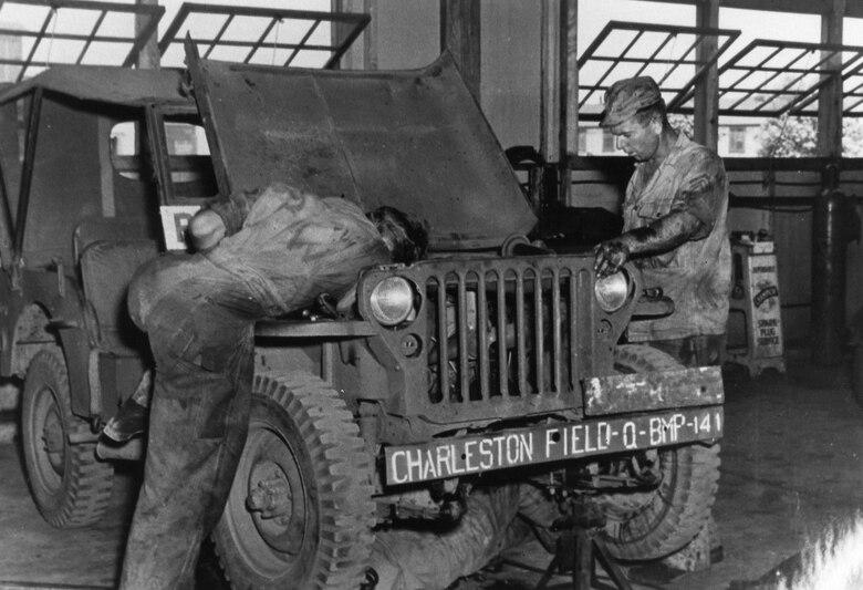 German Prisoner's of War working in the motor pool at the Charleston Army Airfield.