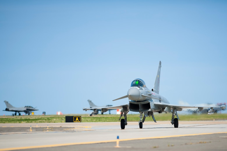 A Royal air force Eurofighter Typhoon taxis on the runway during ATLANTIC TRIDENT 17 at Joint Base Langley-Eustis, Va., April 14, 2017. The RAF participated in the exercise, which focused on operations in a highly contested operational environment through a variety of complex, simulated adversary scenarios. (U.S. Air Force photo/Airman 1st Class Tristan Biese)