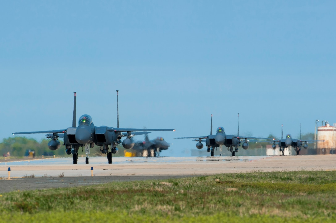 U.S. Air Force F-15E Strike Eagles assigned to Mountain Home Air Force Base, Idaho, taxis on the runway during ATLANTIC TRIDENT 17 at Joint Base Langley-Eustis, Va., April 14, 2017. The 1st Fighter Wing hosted the exercise to focus on greater integration of the U.S. Air Force's fifth-generation capabilities. (U.S. Air Force photo/Airman 1st Class Tristan Biese)