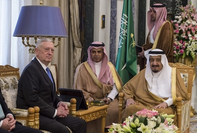 Defense Secretary Jim Mattis meets with Saudi Arabia's King Salman bin Abdulaziz al-Saud in Riyadh, Saudi Arabia, April 19, 2017. DoD photo by U.S. Air Force Tech. Sgt. Brigitte N. Brantley