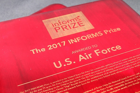 The Air Force was awarded the 2017 INFORMS Prize April 3, 2017, at a gala in Las Vegas, Nev., for their pioneering and enduring integration of operations research and analytics programs. (Courtesy photo)