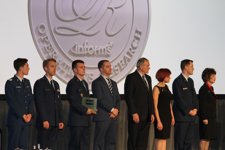 Members of the Air Force Studies, Analysis and Assessments directorate received the INFORMS Prize April 3, 2017, at a gala in Las Vegas, Nev. The award is given to organizations that have repeatedly applied the principles of operations research in pioneering, carried, novel and lasting ways. (Courtesy photo)