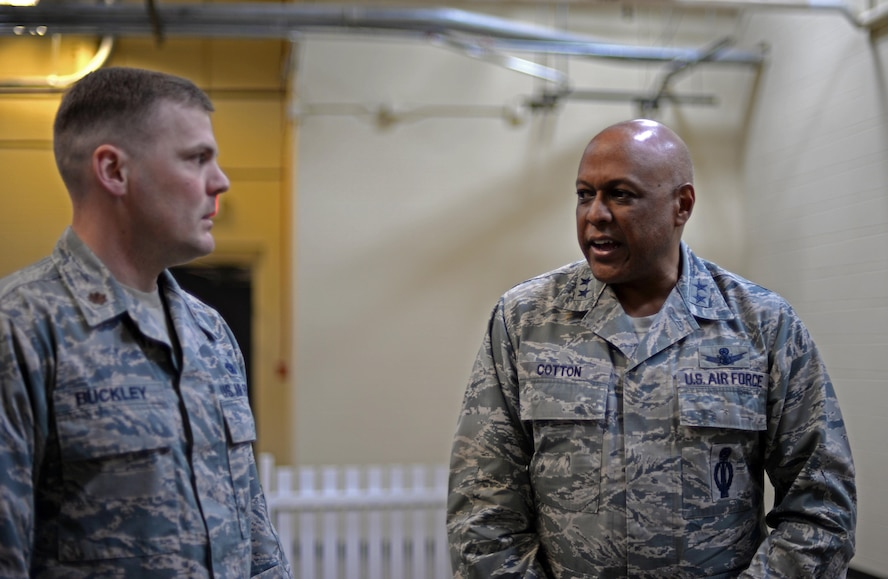 Maj. Gen. Anthony Cotton, 20th Air Force commander, speaks with Major Richard Buckley, 5th Security Forces Squadron deputy commander, at Minot Air Force Base, N.D., April 28, 2017. Cotton took command of the 20th Air Force and Task Force 214 Nov. 16, 2015. (U.S. Air Force photo/Airman 1st Class Austin M. Thomas)