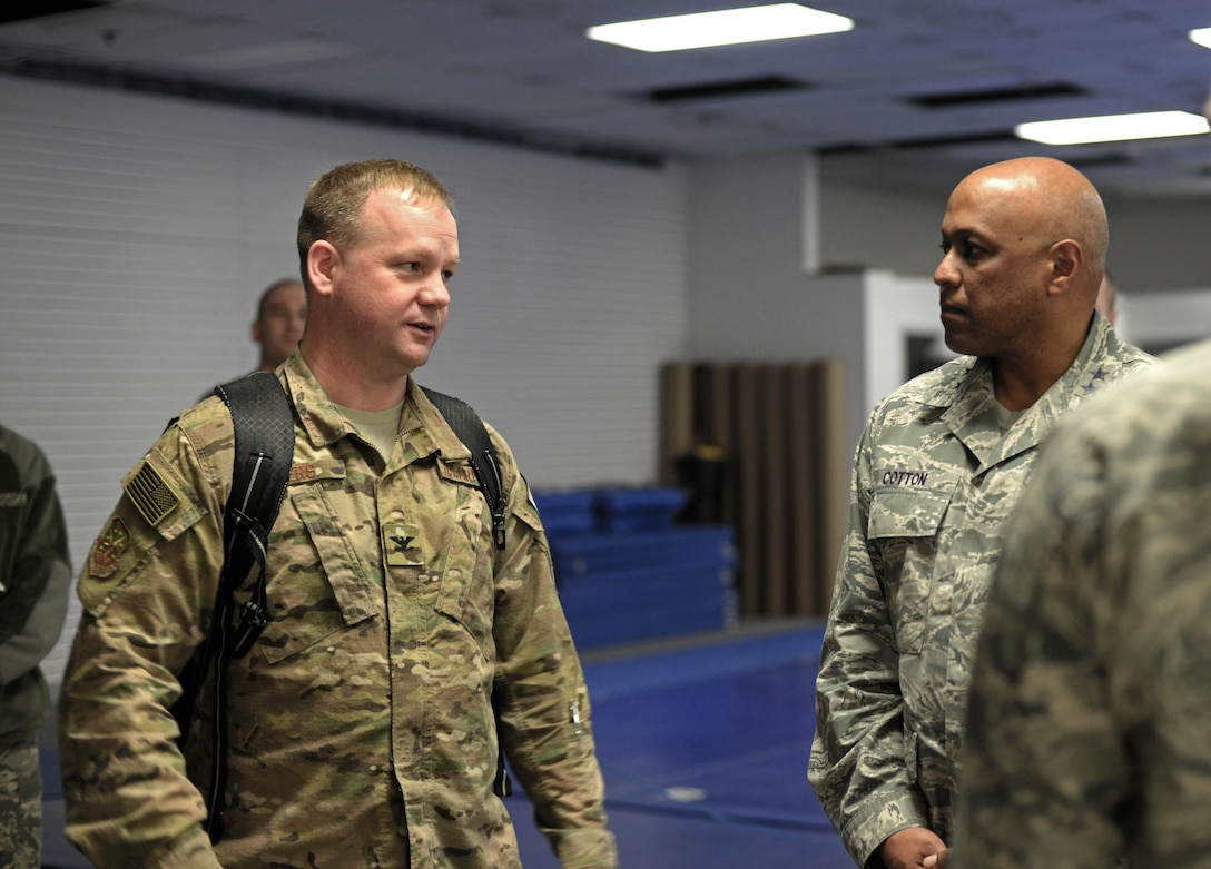 Maj. Gen. Anthony Cotton, 20th Air Force commander, speaks with Airmen at Minot Air Force Base, N.D., April 28, 2017. The 20th AF mission is to prepare the Nation's intercontinental ballistic missile force to execute safe, secure, and effective nuclear strike operations and support worldwide combatant command requirements. (U.S. Air Force photo/Airman 1st Class Austin M. Thomas)