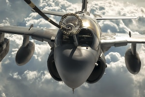 A Navy EA-6B Prowler refuels from an Air Force KC-10 Extender from the 908th Expeditionary Air Refueling Squadron during a Combined Joint Task Force Operation Inherent Resolve mission, March 20, 2017. The EA-6B provides an umbrella of protection for strike aircraft, ground troops and ships by jamming enemy radar, electronic data links and communications. Air Force photo by Senior Airman Joshua A. Hoskins