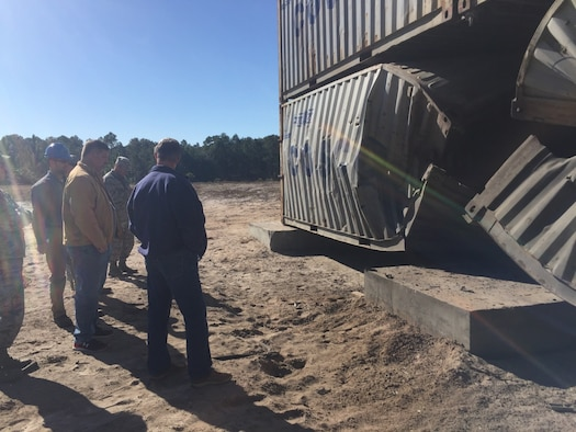 Members of the Air Force Civil Engineer Center recently tested expeditionary CONEX, or container express, dorms for progressive collapse at Tyndall Air Force Base, Florida. (Courtesy photo).
