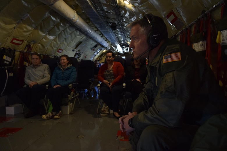 Col. Christopher Mathews, 72nd Aeromedical Squadron commander, right, sits inside KC-135R Stratotanker of the 507th Air Refueling Wing, Air Force Reserve Command, during a local training flight with members of the Tinker Air Force Base Honorary Commander's 2017 Class April 6, 2017, from Tinker Air Force Base, Oklahoma. The Honorary Commander's learned about the KC-135R Stratotanker's mission during an air refueling mission with F-16s of the 138th Fighter Wing, Oklahoma Air National Guard. (U.S. Air Force photo/Greg L. Davis)