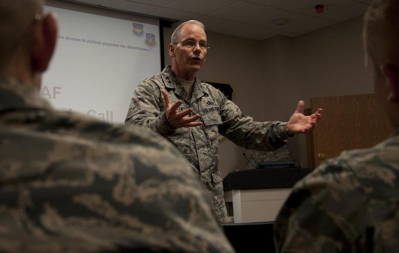 Maj. Gen. Robert D. LaBrutta, Second Air Force commander, speaks to Detachment 23, 373rd Training Squadron Airmen at Minot Air Force Base, N.D., April 18, 2017. LaBrutta has been the Second AF commander since August 2016. (U.S. Air Force photo/Airman 1st Class Alyssa M. Akers)