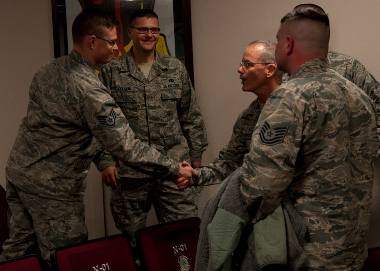 Maj. Gen. Robert D. LaBrutta, Second Air Force commander, greets Detachment 23, 373rd Training Squadron Airmen at Minot Air Force Base, N.D., April 18, 2017. LaBrutta visited multiple training facilities to include the U-1 training launch facility and Det 23 during his tour at Minot AFB. (U.S. Air Force photo/Airman 1st Class Alyssa M. Akers)