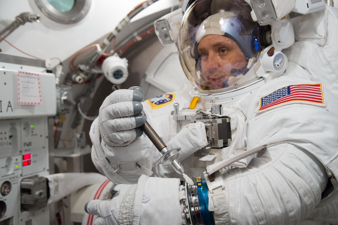 Col. Jack Fischer, a 1996 U.S. Air Force Academy graduate and astronaut, will travel to the International Space Station April 20. (Photo by James Blair)