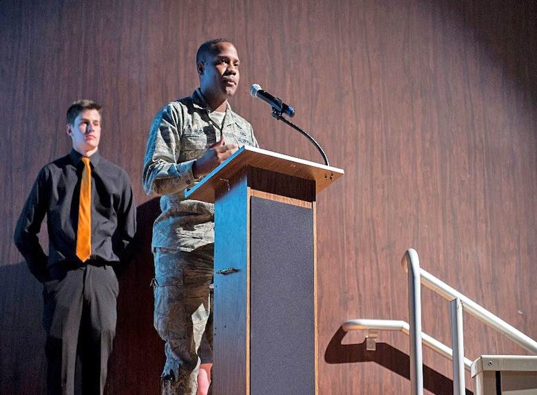 1st Lt. Harvey Hurst, Air Force Research Laboratory Rocket Propulsion Division program manager, speaks to a crowd at Lancaster High School March 23. (U.S. Air Force photo by Kyle Larson)