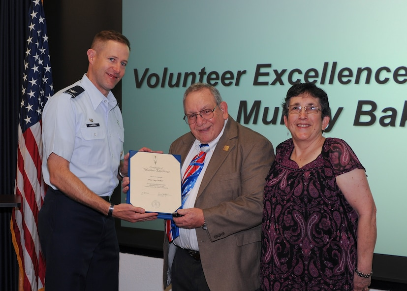 Murry Baker, 355th Medical Support Squadron pharmacy volunteer, was awarded the Volunteer Excellence Award at Davis-Monthan Air Force Base, Ariz., April 18, 2017. Baker was recognized for his dedication to volunteering at the pharmacy, base chapel and in many local organizations. The VEA is a lifetime service award received only once for performing outstanding volunteer community service. (U.S. Air Force photo by Senior Airman Ashley N. Steffen)