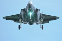 A U.S. Air Force F-35 Lightning II assigned to Eglin Air Force Base, Fla., prepares to land during ATLANTIC TRIDENT 17 at Joint Base Langley-Eustis, Va., April 16, 2017. The goal of the exercise was to enhance interoperability through combined coalition aerial campaigns. (U.S. Air Force photo/Airman 1st Class Tristan Biese)
