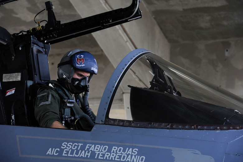 U.S. Air Force 1st Lt. Austin Hurley, 44th Fighter Squadron pilot, conducts pre-flight checks in the cockpit of a F-15 Eagle April 19, 2017, at Kadena Air Base, Japan. The F-15 is a vital asset to carrying out Kadena's mission of providing premier air power. (U.S. Air Force photo by Senior Airman Lynette M. Rolen)