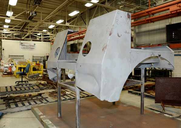 The cab of a World War II, Suspension Unit-Cab Over Engine Prime Mover, 4x4 Cargo Truck, is being restored at Marine Depot Maintenance Command in Albany, Ga., April 17 for inclusion in the National Museum of the Marine Corps.