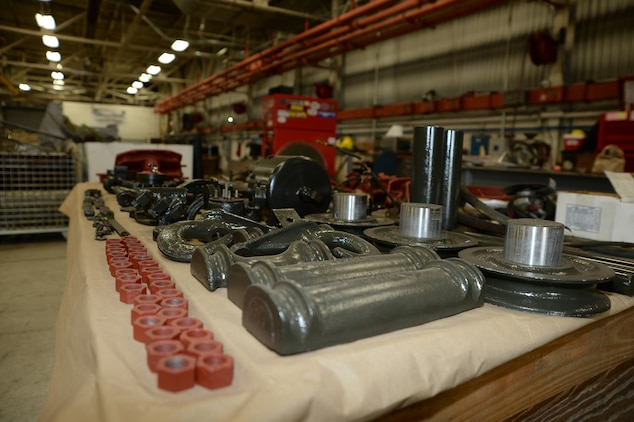Various parts of a World War II, Suspension Unit-Cab Over Engine Prime Mover, 4x4 Cargo Truck, are complete and awaiting reassembly April 17 for inclusion in the National Museum of the Marine Corps.