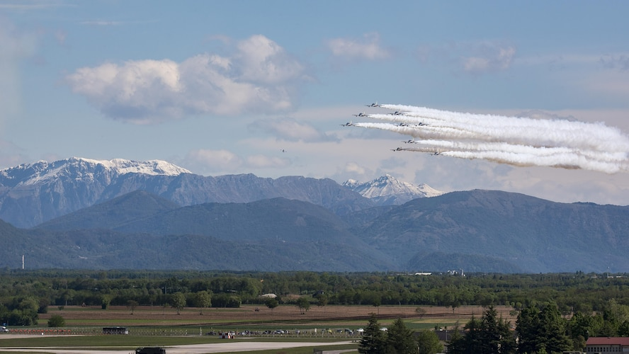 The Italian air force Frecce Tricolori aerobatics team, practiced flying formations over Aviano Air Base, Italy, April 19, 2017. They use the air space above Aviano each year to practice flying routines for their upcoming air shows. (U.S. Air Force photo by Senior Airman Cory W. Bush)