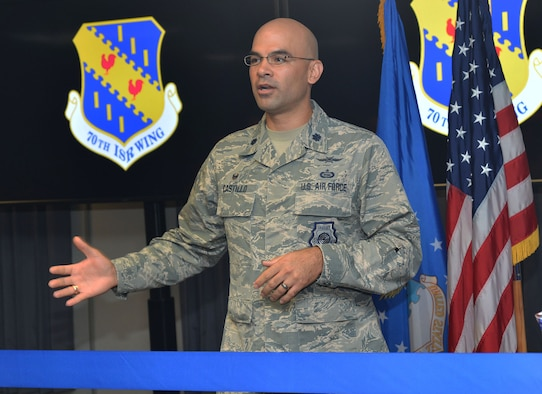 Lt. Col. Matthew Castillo, commander, 35th Intelligence Squadron, speaks about the Cyberspace Threat Intelligence Center during the ribbon cutting ceremony Apr. 10. Airmen and contractors with the 35th IS will be conducting operations to provide intelligence within the cyberspace domain at the CTIC. (U.S. Air Force photo by Lori Bultman)