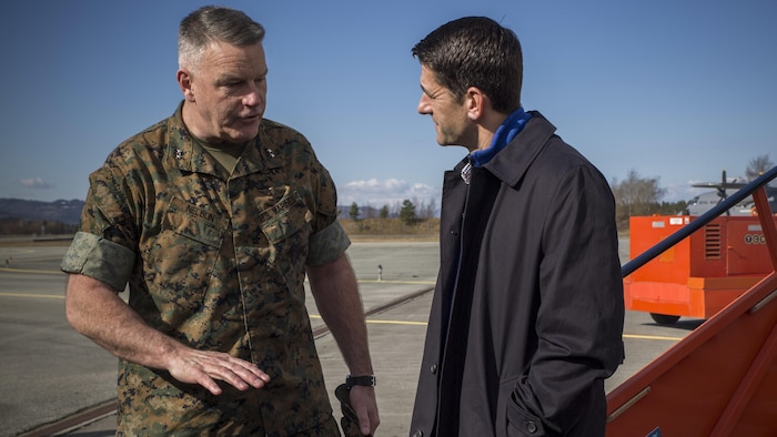 U.S. House of Representatives Speaker Paul Ryan is greeted by U.S. Marine Corps Major General Niel Nelson, Commander of Marine Corps Forces Europe and Africa, as he arrives in Stjørdal, Norway, April 18, 2017. The congressional delegation toured the Marine Corps Prepositioning Program caves which house Marine Corps logistical equipment. The MCPP-N program emphasizes the strong military bond between the U.S. and its Norwegian counterparts, sustaining a solid foundation for future cooperation.