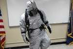 A prototype submarine steam suit gets tested during an orientation class at Naval Submarine Base New London, Groton,  Conn., March 8, 2017. Navy photo by John F. Williams