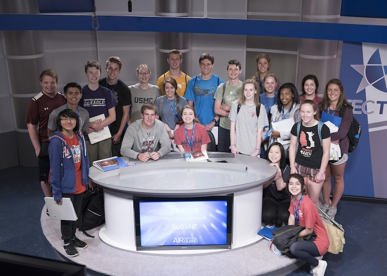 Students with Youth Leadership Blount take a television studio tour at the Air National Guard's I.G. Brown Training and Education Center April 18, 2017, as part of their leadership day. The students met the commander, took a 4 Lenses assessment, toured the TEC TV studios and played a game of flicker ball before leaving McGhee Tyson Air National Guard Base for other area events. (U.S. Air National Guard photo by Master Sgt. Mike R. Smith)