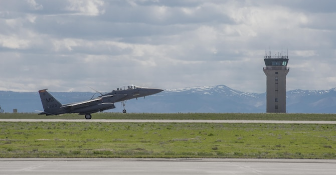 An F-15E Strike Eagle belonging to the 389th Fighter Squadron lands at Mountain Home Air Force Base, Idaho, for the first time in six months April 8, 2017. The jet was one of approximately 20, along with about 500 airmen, that deployed to Southwest Asia. (U.S. Air Force photo by Airman Jeremy D. Wolff)