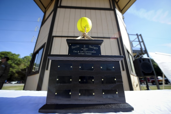 Hurlburt hosted a softball championship called Battle of the Badges at Hurlburt Field. Fla., April 14, 2017. Battle of the Badges is a softball tournament in which police officers and firefighters from Okaloosa County and Hurlburt Field compete to be known as the 2017 Battle of the Badges champion. (U.S. Air Force photo by Airman 1st Class Dennis Spain)