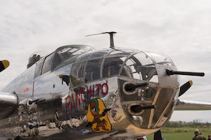 "DAYTON, Ohio (04/2017) -- Eleven B-25 Mitchell bombers were on static display at the National Museum of the U.S. Air Force on April 17-18, 2017, as part of the Doolittle Tokyo Raiders 75th Anniversary. The B-25 aircraft pictured here is ""Panchito"", owned and piloted by Larry Kelley from Georgetown, DE. (U.S. Air Force photo by Kevin Lush)"