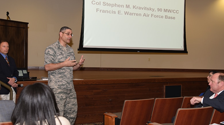 Col. Stephen Kravitsky, 90th Missile Wing commander, discusses the history and intention for the Enhanced Use Lease at the Industry Day on April 18, 2017, at the Joint Forces Readiness Center in Cheyenne, Wyo. 74 acres on the south border of the base are being opened to public bid for development as part of the EUL. More than thirty individuals came to the event, representing more than 15 property-development organizations. (U.S. Air Force photo by Glenn S. Robertson)