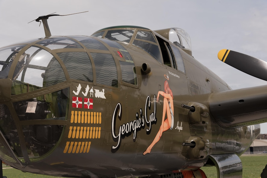 "DAYTON, Ohio (04/2017) -- Eleven B-25 Mitchell bombers were on static display at the National Museum of the U.S. Air Force on April 17-18, 2017, as part of the Doolittle Tokyo Raiders 75th Anniversary. The B-25 aircraft pictured here is ""Georgie's Gal"", owned by Ed Patrick and Mack Deeds from Liberty Aviation Museum in Port Clinton, OH. (U.S. Air Force photo by Kevin Lush)"