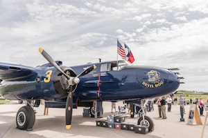"DAYTON, Ohio (04/2017) -- Eleven B-25 Mitchell bombers were on static display at the National Museum of the U.S. Air Force on April 17-18, 2017, as part of the Doolittle Tokyo Raiders 75th Anniversary. The B-25 aircraft pictured here is ""Devil Dog"", owned by Beth Jenkins from Devil Dog CAF Squadron in Georgetown, TX. (U.S. Air Force photo by Kevin Lush)"