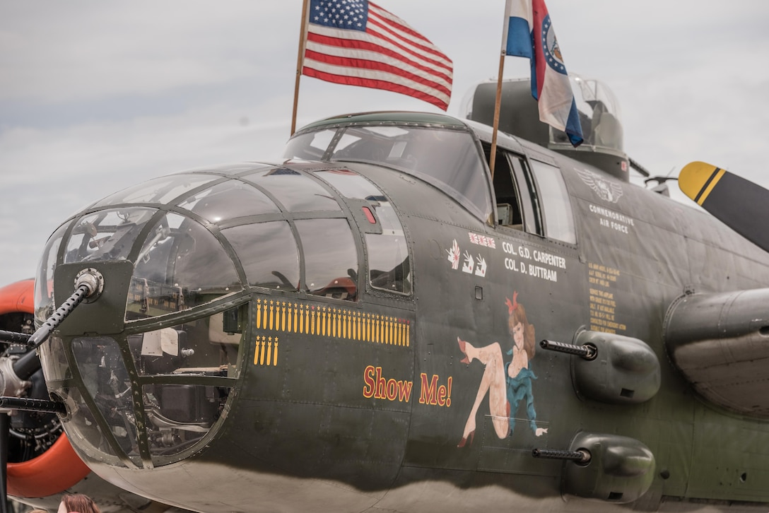 """DAYTON, Ohio (04/2017) -- Eleven B-25 Mitchell bombers were on static display at the National Museum of the U.S. Air Force on April 17-18, 2017, as part of the Doolittle Tokyo Raiders 75th Anniversary. The B-25 aircraft pictured here is """"Show Me"""", owned by John Lohmar and Matt Conrad from MO CAF Squadron in St. Louis, MO. (U.S. Air Force photo by Kevin Lush)"""
